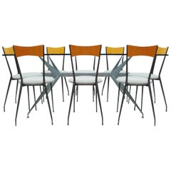 Classic Vintage 1980s Retro Conran Dining Set in Glass, Metal and Fabric