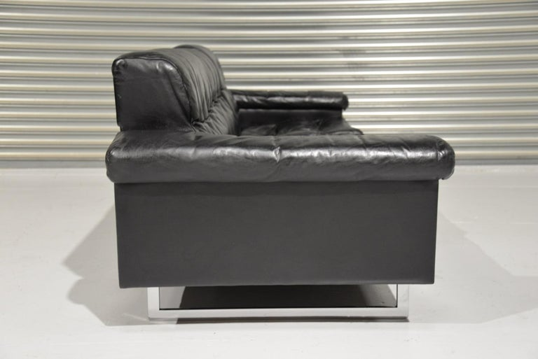Classic Vintage De Sede 3 Seat Leather Sofa, Switzerland 1970s For Sale 4