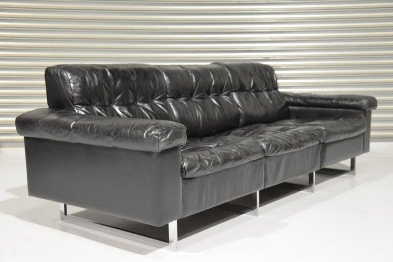 Classic Vintage De Sede 3 Seat Leather Sofa, Switzerland 1970s For Sale 5