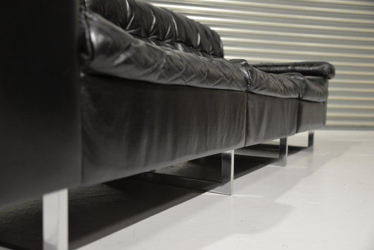 Classic Vintage De Sede 3 Seat Leather Sofa, Switzerland 1970s For Sale 6
