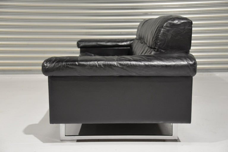 Mid-Century Modern Classic Vintage De Sede 3 Seat Leather Sofa, Switzerland 1970s For Sale
