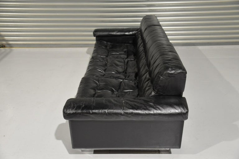 Swiss Classic Vintage De Sede 3 Seat Leather Sofa, Switzerland 1970s For Sale