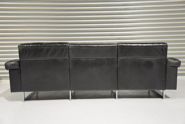 Late 20th Century Classic Vintage De Sede 3 Seat Leather Sofa, Switzerland 1970s For Sale