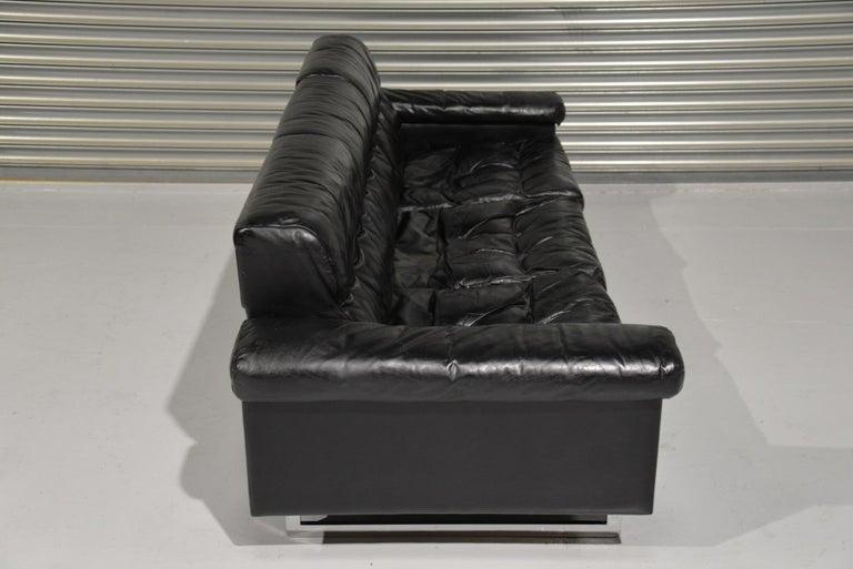 Classic Vintage De Sede 3 Seat Leather Sofa, Switzerland 1970s For Sale 3