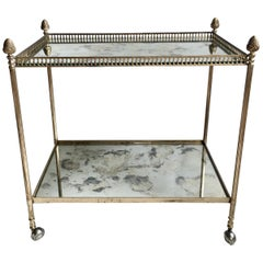 Classic Vintage French Silver Drinks Trolley or Bar Cart
