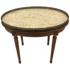 Classic Vintage Fruitwood Oval Coffee Table with Marble Top and Brass Gallery