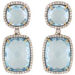 Classic Vintage Inspired Blue Topaz Double Drop Earrings