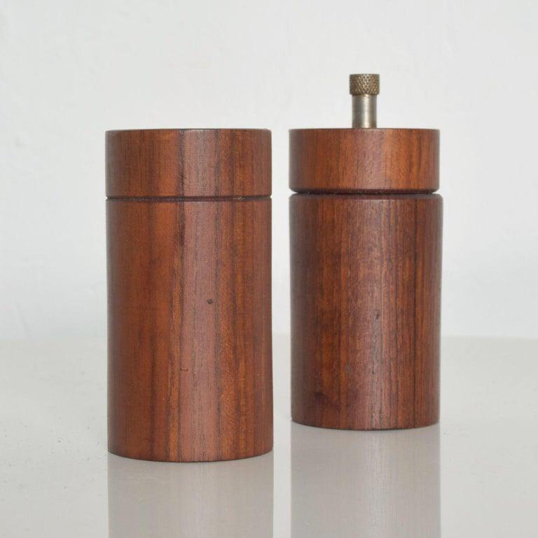 Vintage Mid Century Modern Teak Salt and Pepper Shakers Bullet Shape