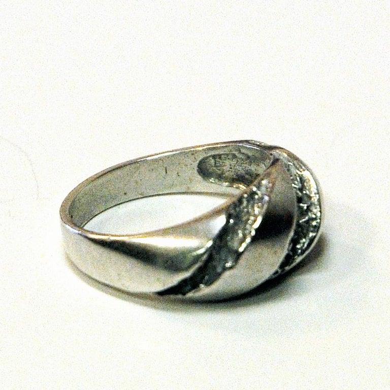 Swedish Classic Vintage Silver Ring by Guldateljen, Sweden, 1980s For Sale