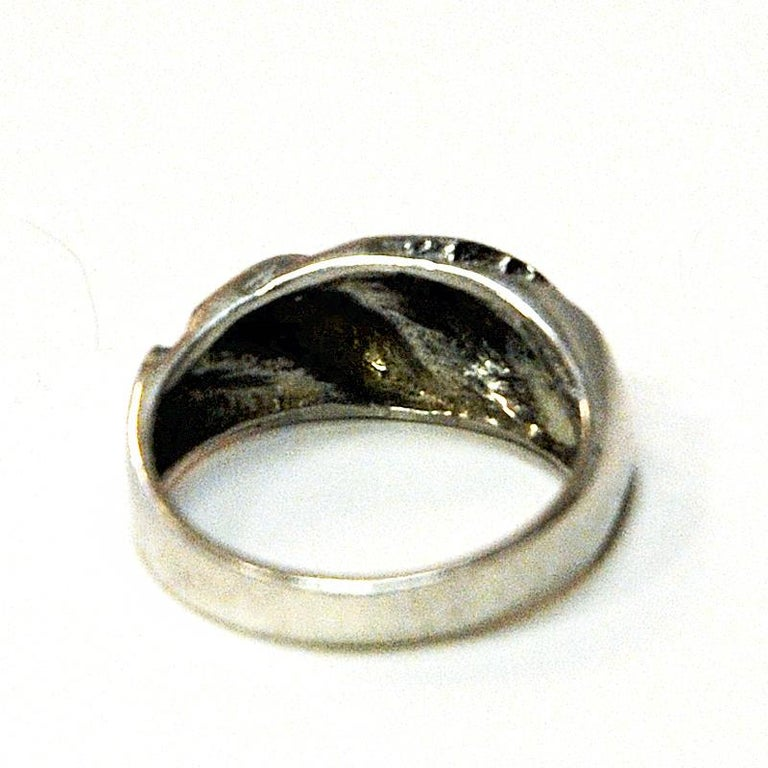Classic Vintage Silver Ring by Guldateljen, Sweden, 1980s In Good Condition For Sale In Stockholm, SE