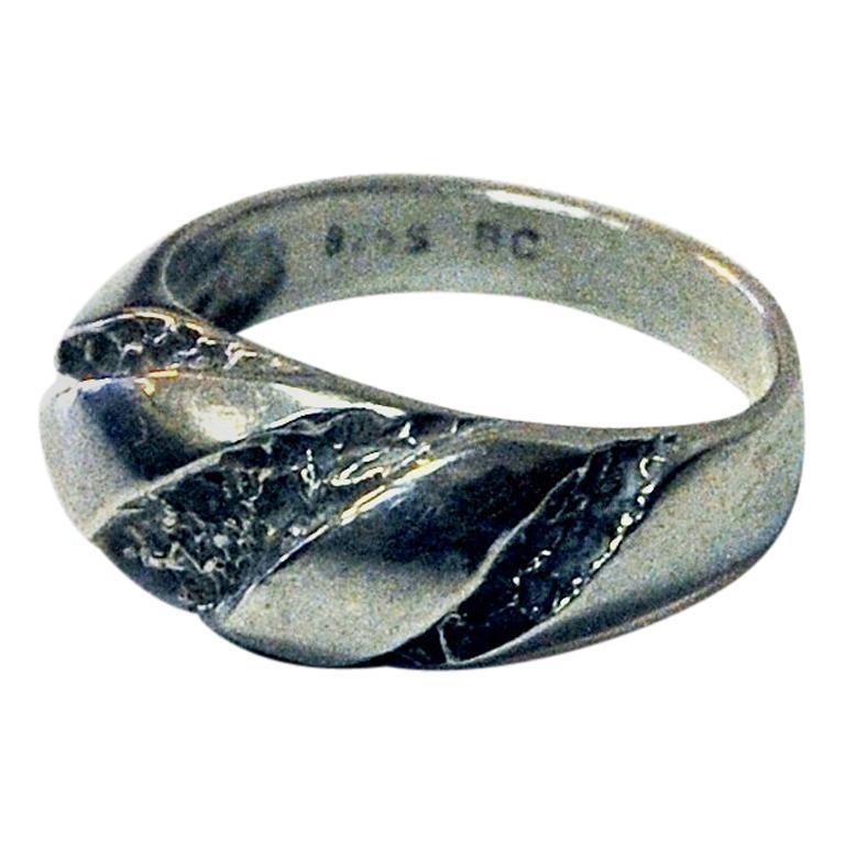 Classic Vintage Silver Ring by Guldateljen, Sweden, 1980s For Sale