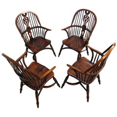 Classic Vintage Splatback Windsor Dining Room Armchairs for Cottage Lodge, Set