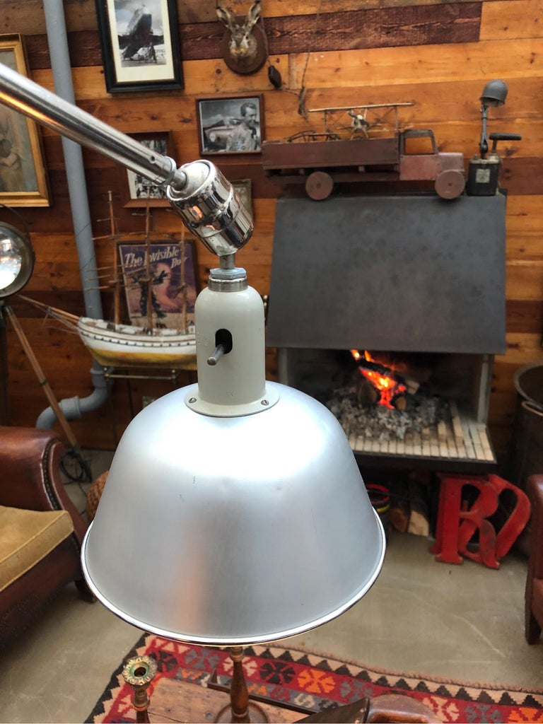 Classic vintage triplex telescopic work lamp designed by Johan Petter Johansson for ASEA of Sweden