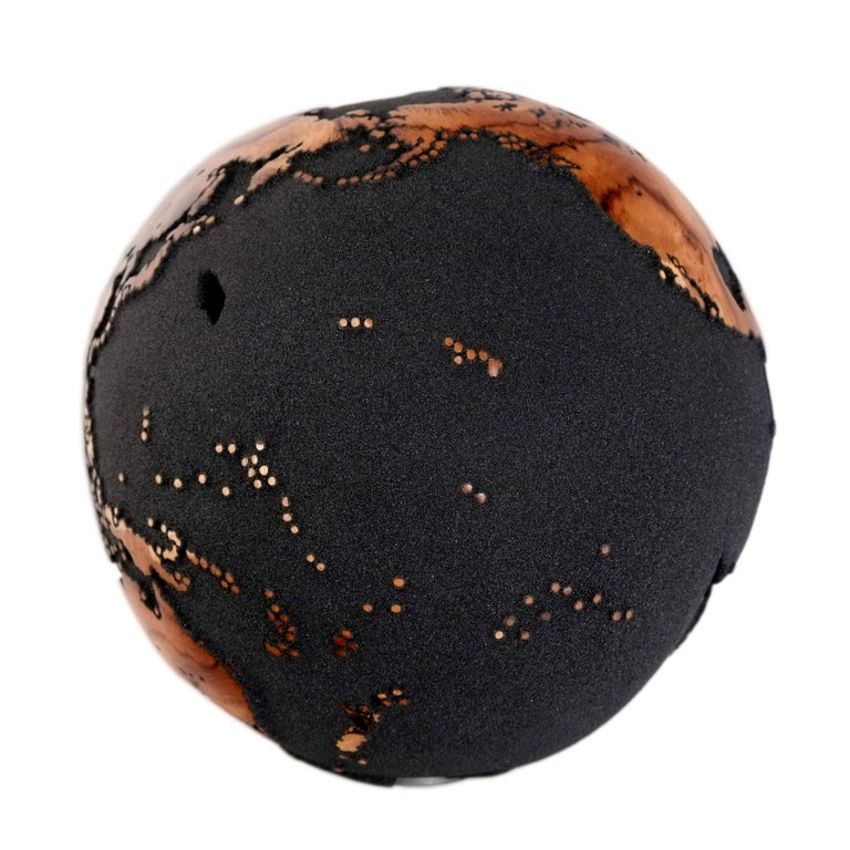 Contemporary Classic Volcanic Sand HB Globes Made of Teak Root, 25 cm For Sale