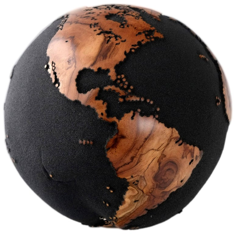 Classic Volcanic Sand HB Globes Made of Teak Root, 25 cm For Sale
