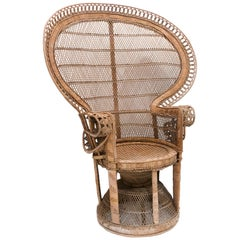 Classic Wicker Emanuelle Peacock Chair, 1970