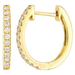 Classic Yellow Gold and Diamond Hoops