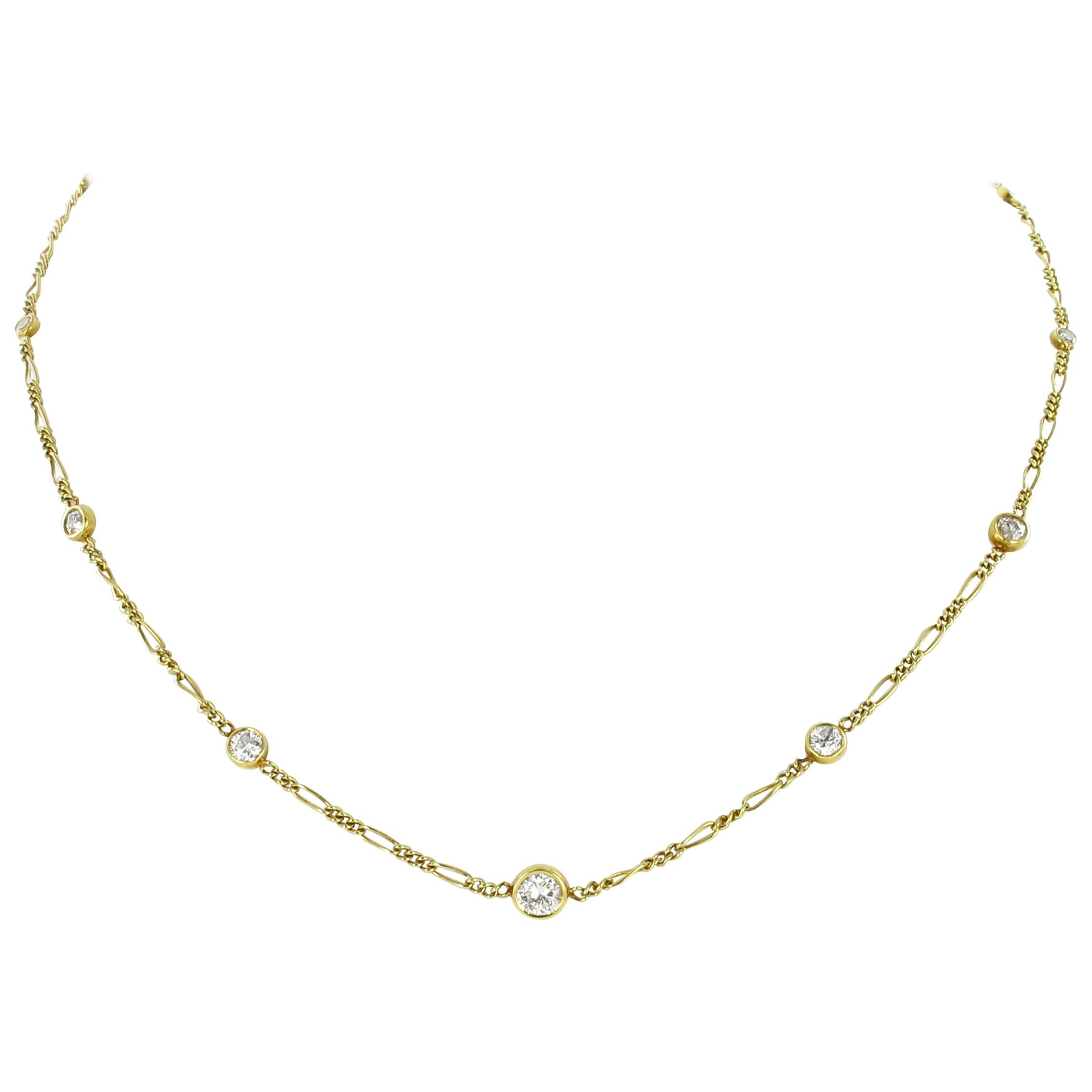 Classic Yellow Gold Diamond Necklace