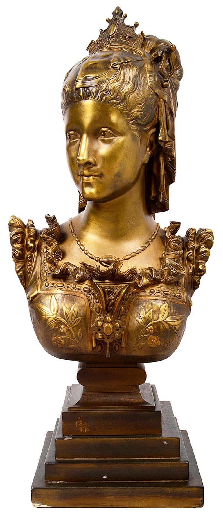 French Classical 19th Century Bronze Bust of a Maiden For Sale