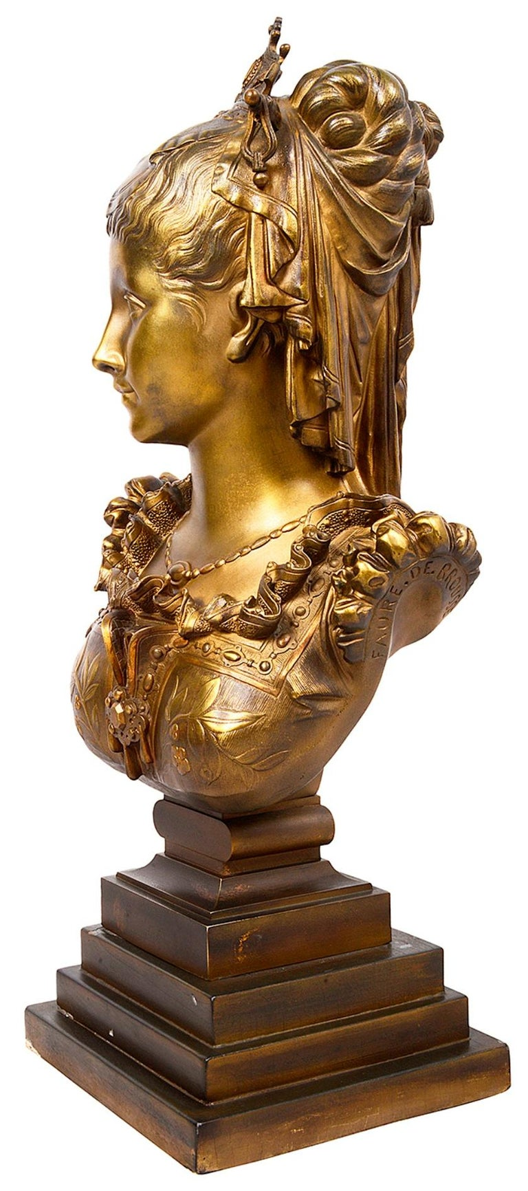Patinated Classical 19th Century Bronze Bust of a Maiden For Sale