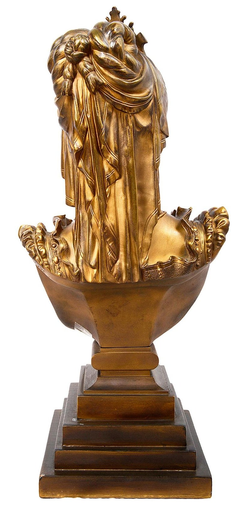 Classical 19th Century Bronze Bust of a Maiden In Good Condition For Sale In Brighton, Sussex