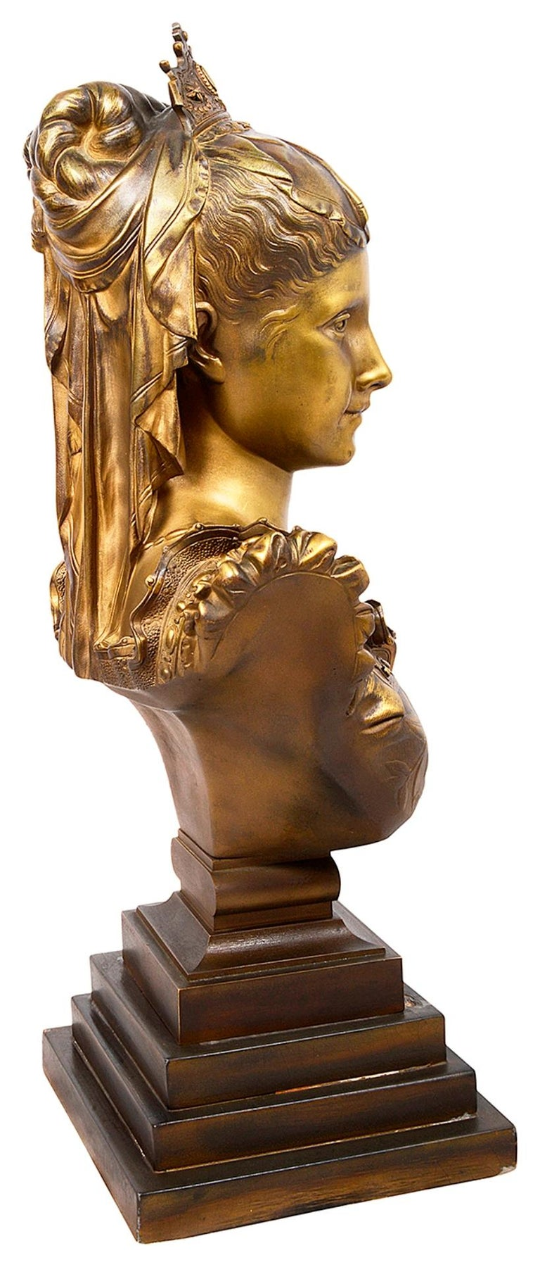 Classical 19th Century Bronze Bust of a Maiden For Sale 1