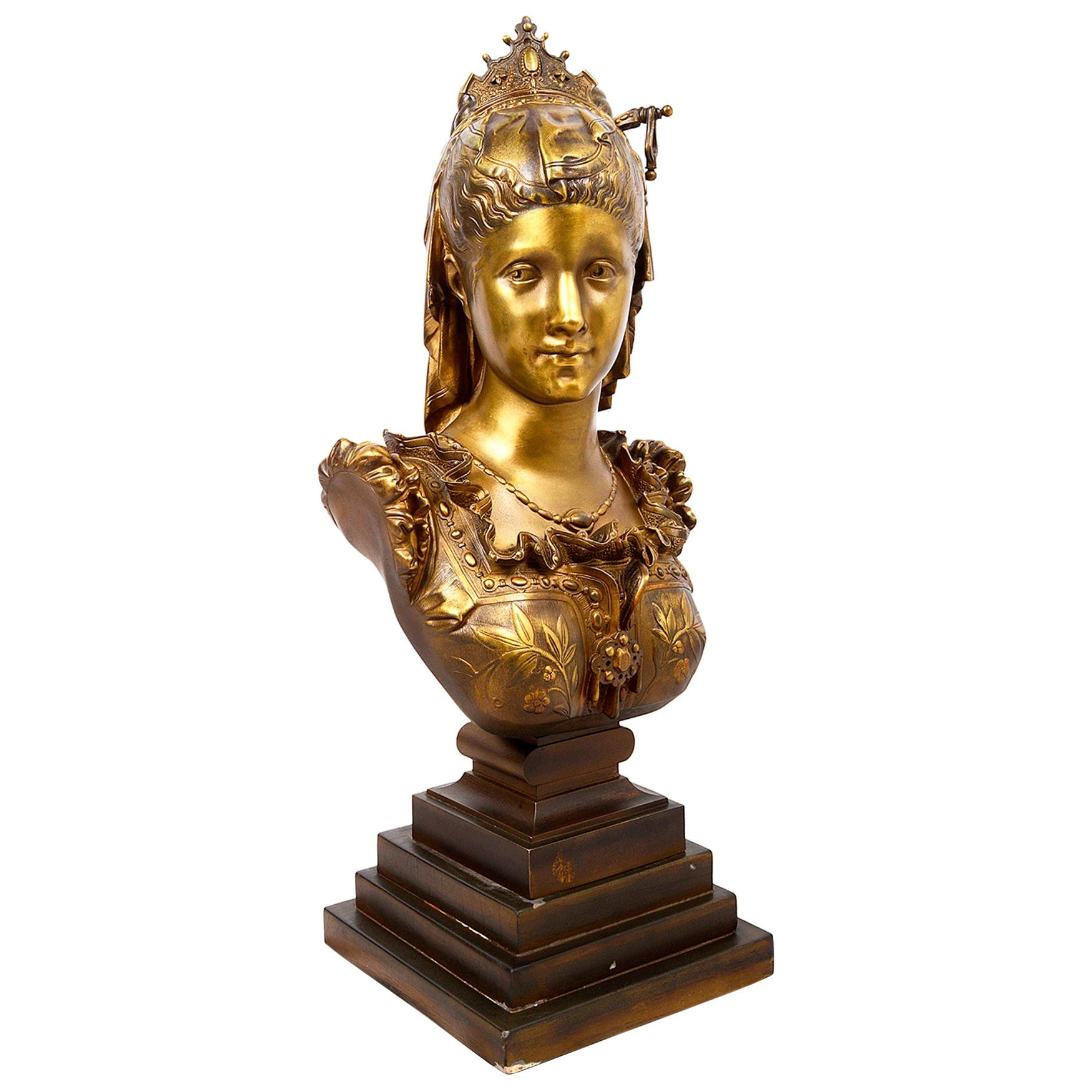 Classical 19th Century Bronze Bust of a Maiden