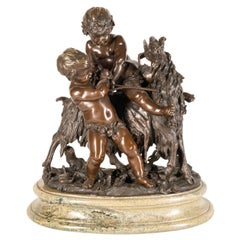 Classical 19th Century Bronze Group of Children Playing with Goat
