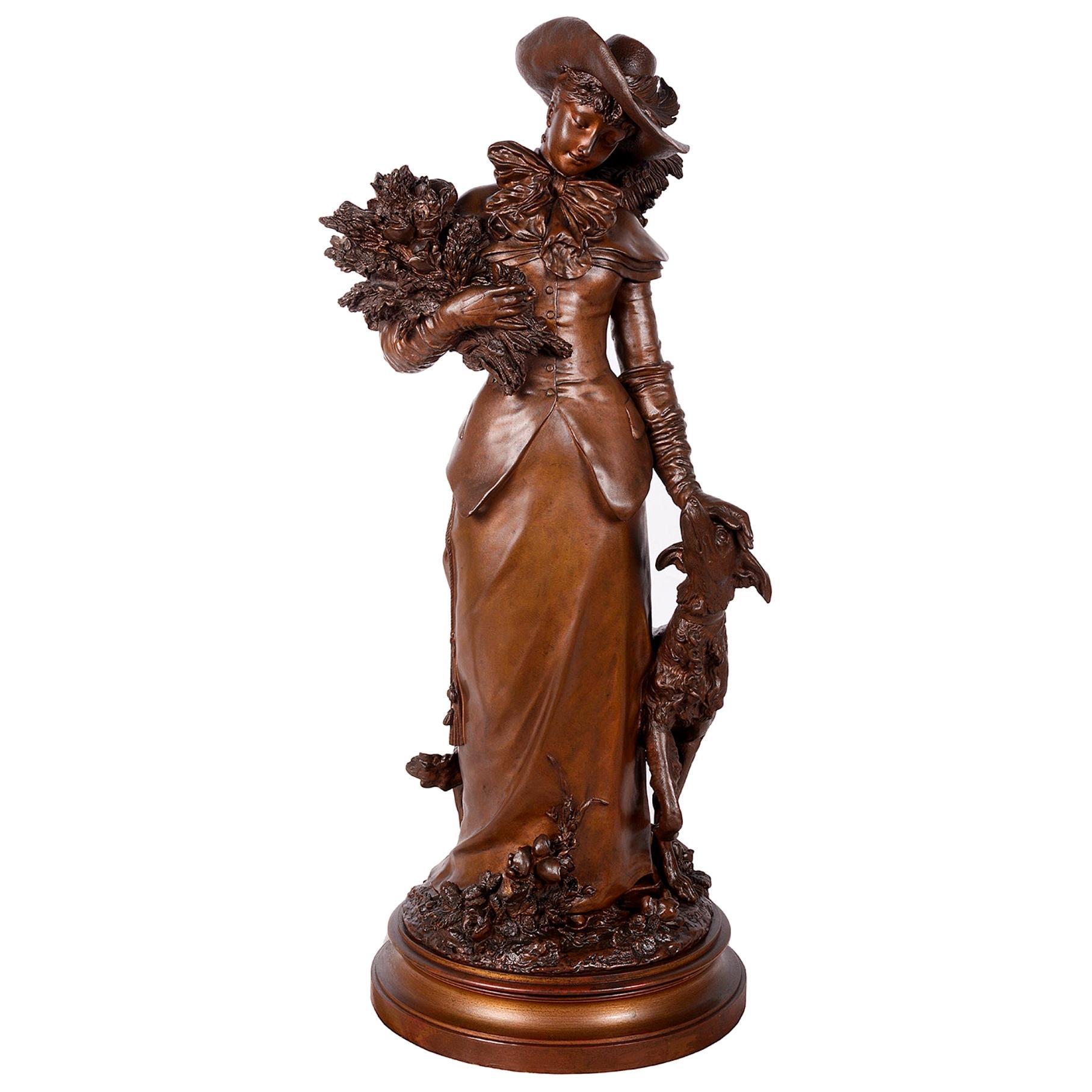 Classical 19th Century Bronze Lady and Borzoi Hound, Signed Gaudez