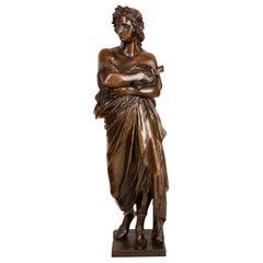 Classical 19th Century Bronze Statue of a Roman Scholar