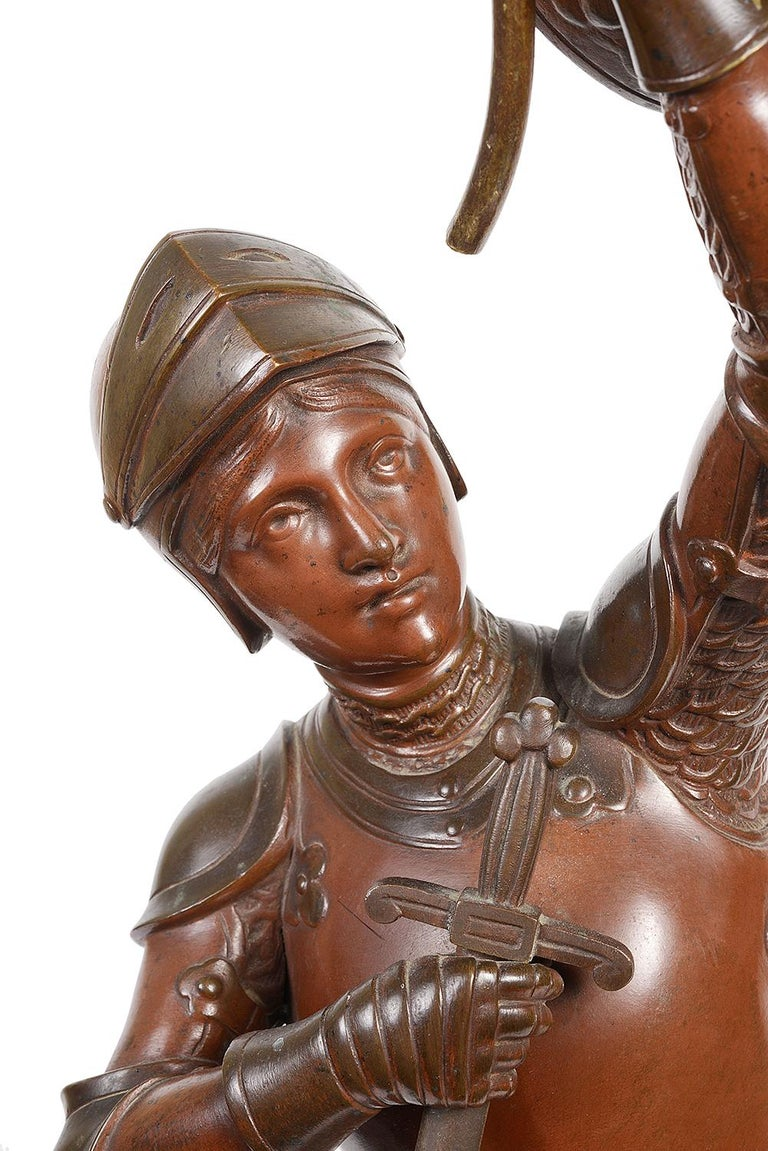 A very good quality 19th century patinated bronze statue of 'Joan of Arc'   Signed; Henri Giraud (1805-1895).