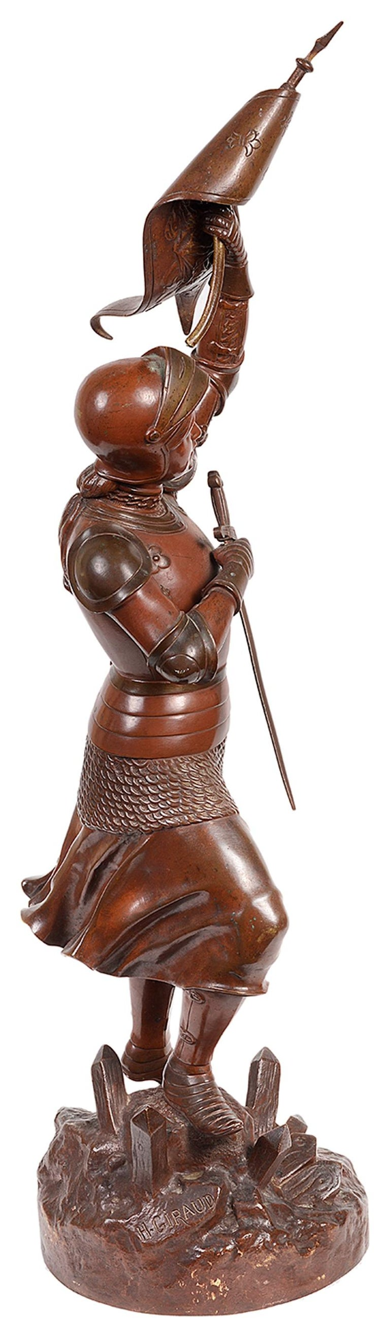 French Classical 19th Century Bronze Statue of Joan of Arc For Sale