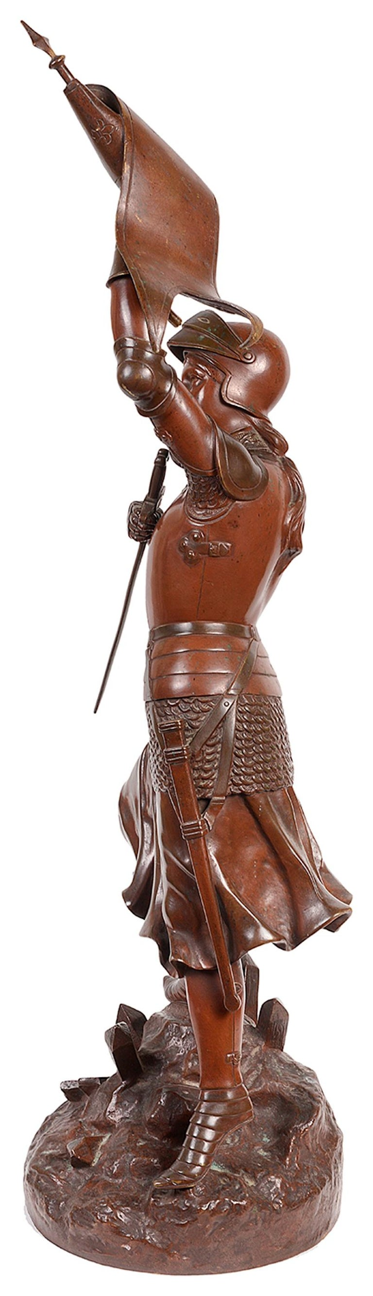 Classical 19th Century Bronze Statue of Joan of Arc For Sale 1