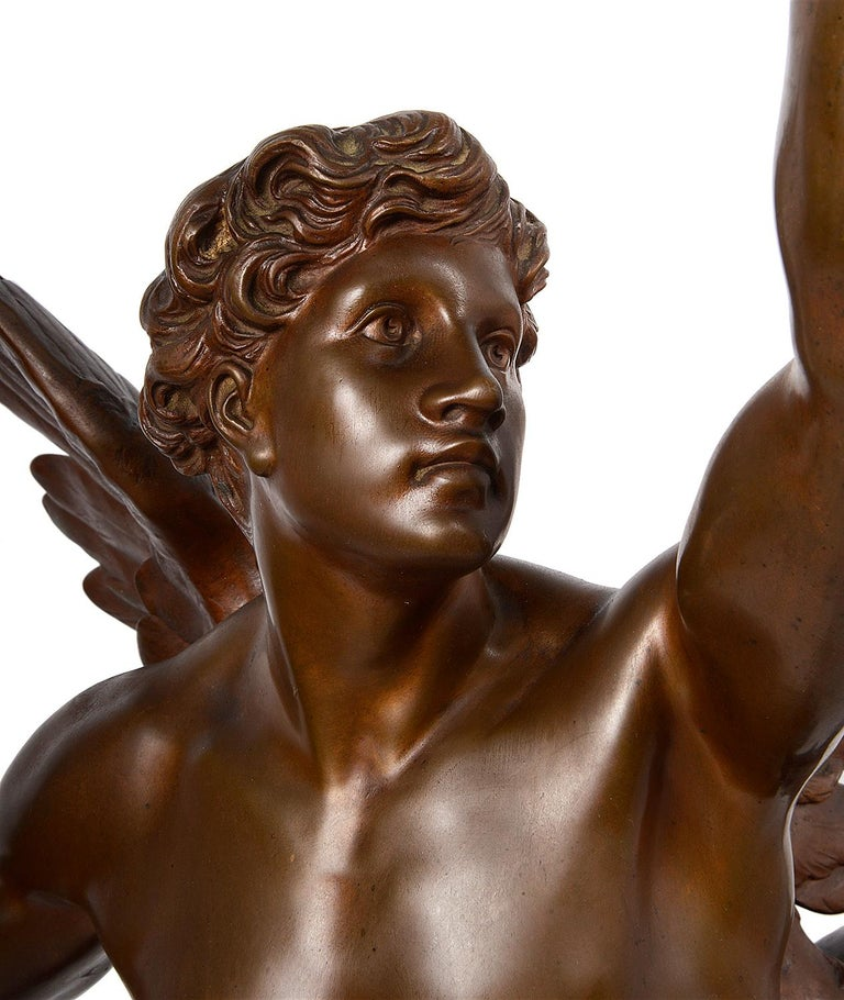 This wonderful 19th century patinated bronze statue of this winged classical figure about to take flight. Entitled; 'Thought' Taking flight and carrying the light. Signed; E. Picault  Émile Louis Picault was a prolific French Orientalist