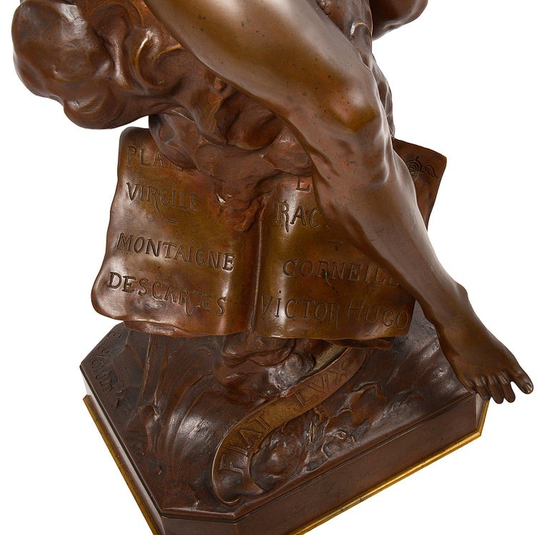 Classical 19th Century Bronze Statue 'Thought' by Emile Picault For Sale 1