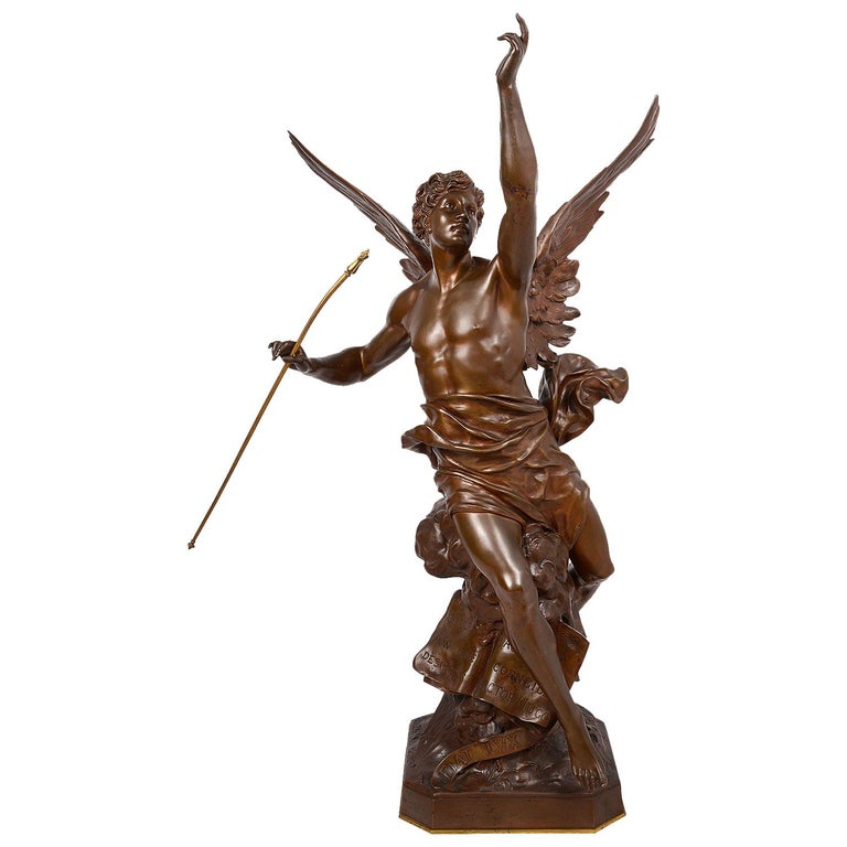 Classical 19th Century Bronze Statue 'Thought' by Emile Picault For Sale