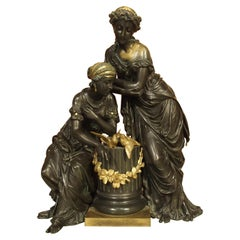 Classical 19th Century Gilt and Patinated Bronze Figural Group from France