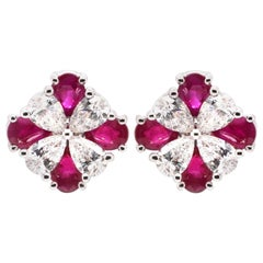 Classical 2.09 Carat Vivid Red Ruby and 1.07 Carat White Diamond Earring