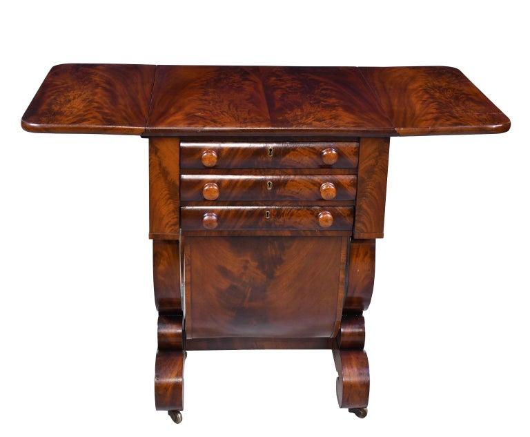 Classical American Empire Grecian-Form Work Table in Mahogany, circa 1830 Boston For Sale 2
