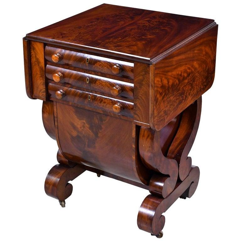 Classical American Empire Grecian-Form Work Table in Mahogany, circa 1830 Boston For Sale