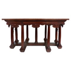 Classical Antique Library Center Table with Ionic Columns