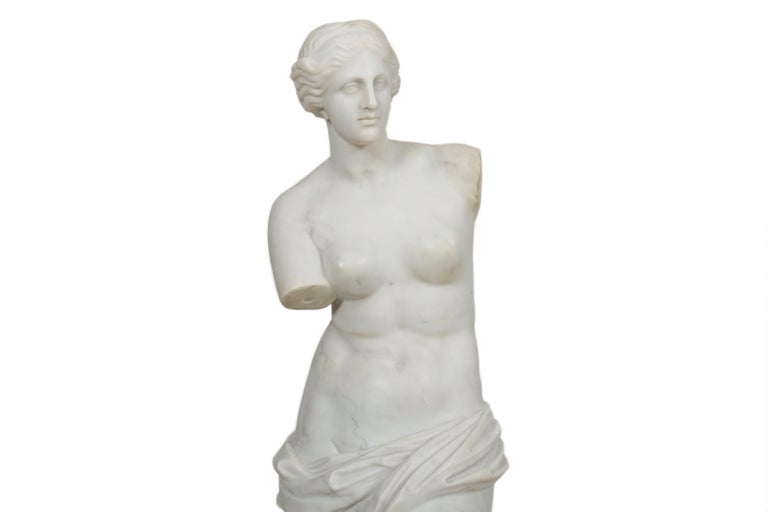 Carved Classical Antique Marble Sculpture of Statue
