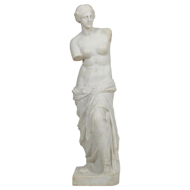 """Classical Antique Marble Sculpture of Statue """"Venus de Milo"""" For Sale"""