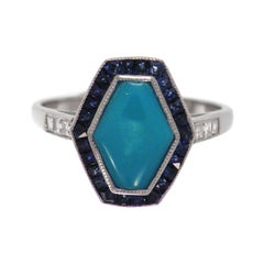 Classical Art Deco Style in Platinum Setting Sapphire Turquoise Cocktail Ring