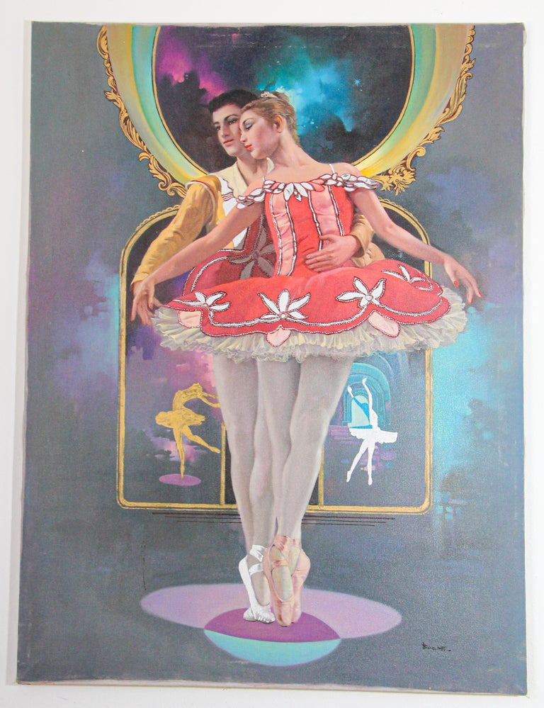 Classical Ballet Dancers Oil Painting on Canvas For Sale 4