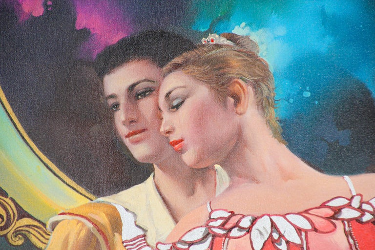 Romantic Classical Ballet Dancers Oil Painting on Canvas For Sale