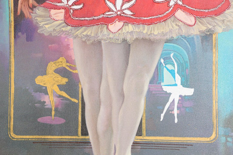 European Classical Ballet Dancers Oil Painting on Canvas For Sale