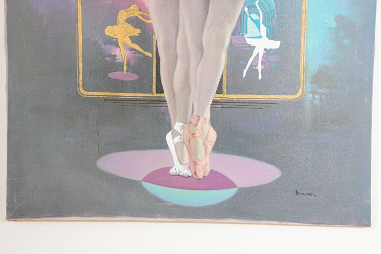 Hand-Painted Classical Ballet Dancers Oil Painting on Canvas For Sale