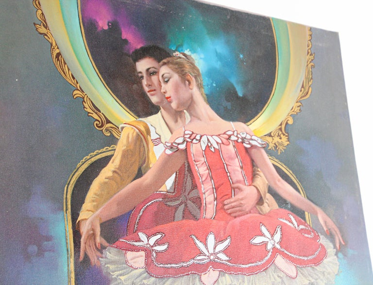 20th Century Classical Ballet Dancers Oil Painting on Canvas For Sale