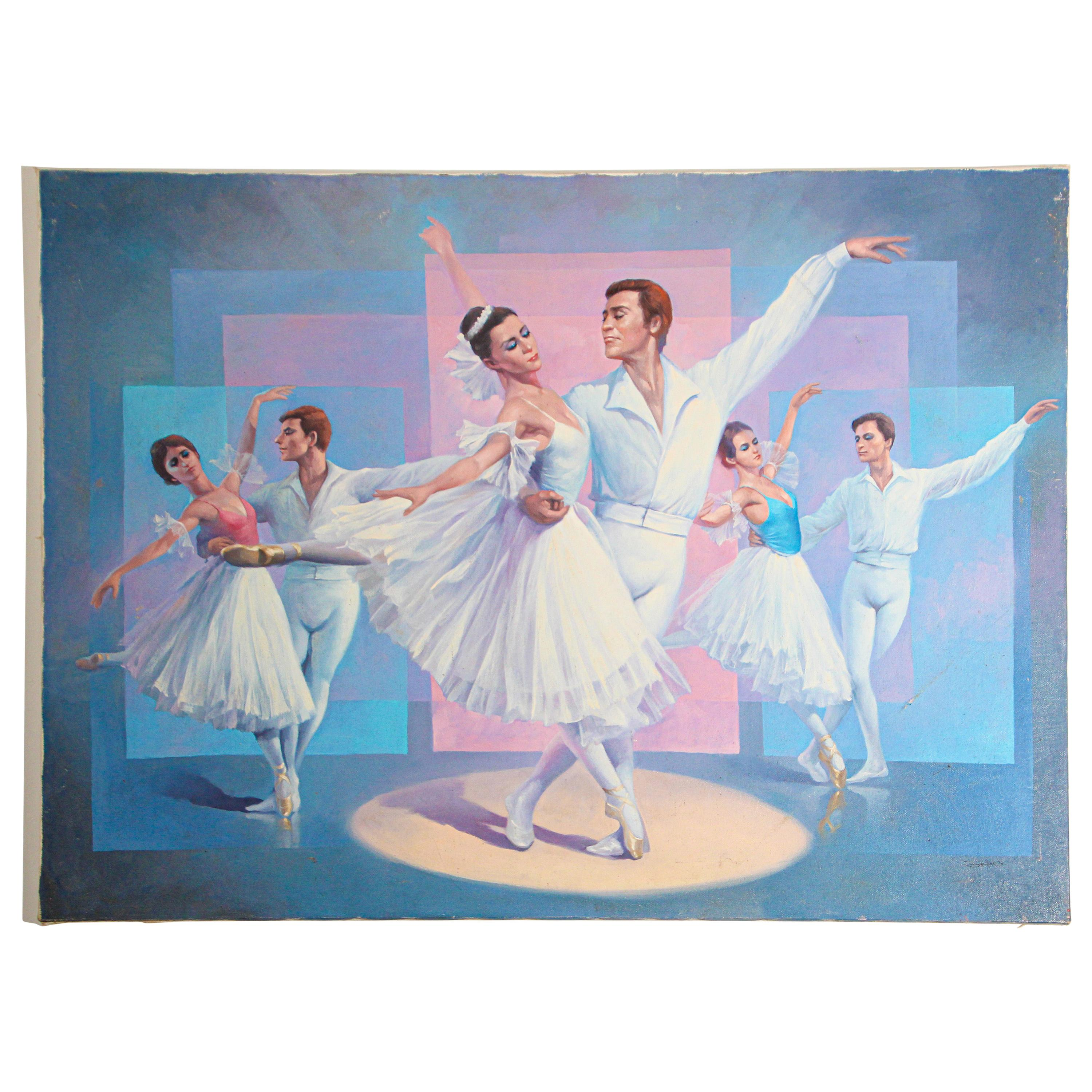 Classical Ballet Dancers Oil Painting on Canvas